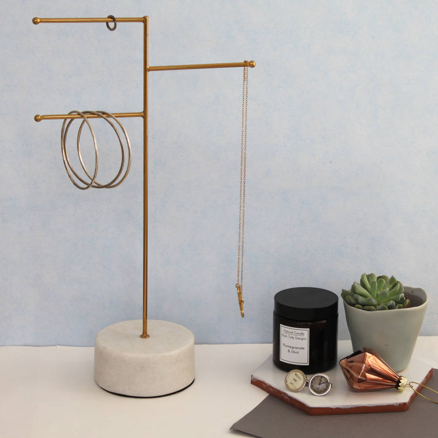 Jewellery Stand Designs : Large brass and marble jewellery stand by posh totty