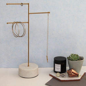 Large Brass And Marble Jewellery Stand