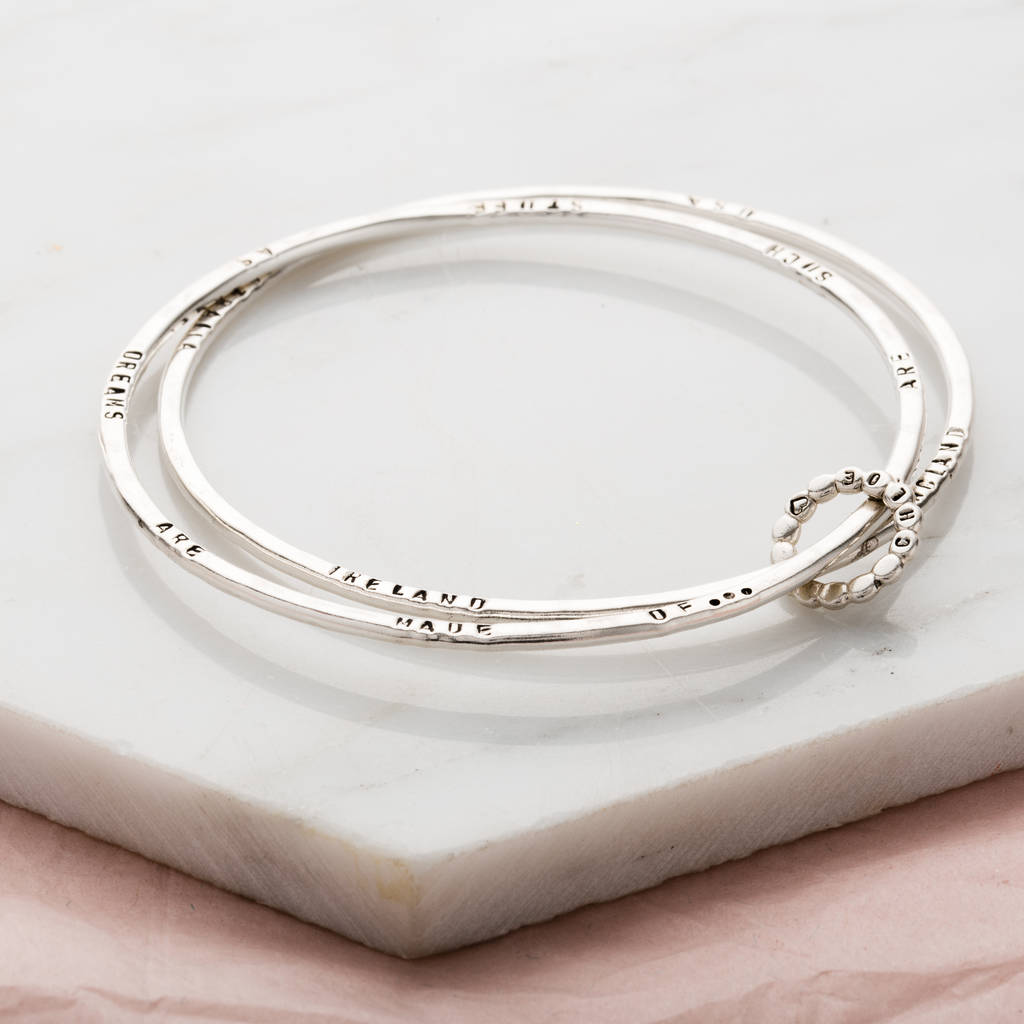Personalised Double Bangle With Bead Ring