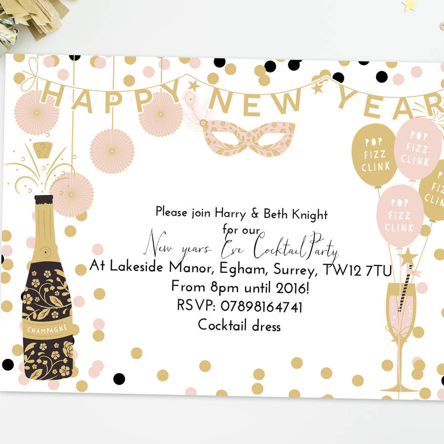 Personalised New Year S Eve Party Invitations By Lily Summery