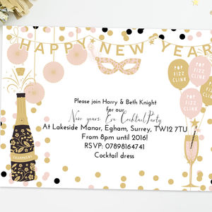 Personalised New Year's Eve Party Invitations - invitations