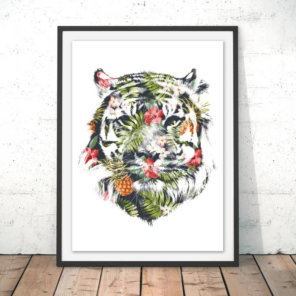Tropical Tiger Watercolour Fine Art Giclée