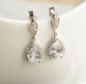 Sterling Silver Tear Drop Crystal Earrings