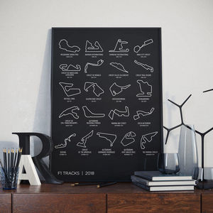 Formula One Track 2018 Calendar Print - maps & locations