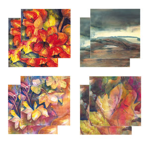 Eight Fine Art Watercolour Gift Cards Pack C - birthday cards