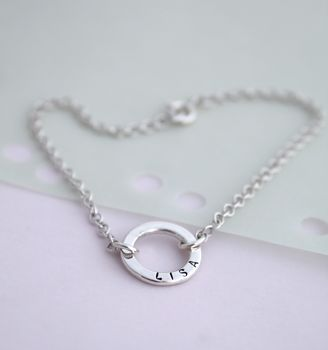 Personalised Mini Message Bracelet in 925 Sterling Silver with a black finish