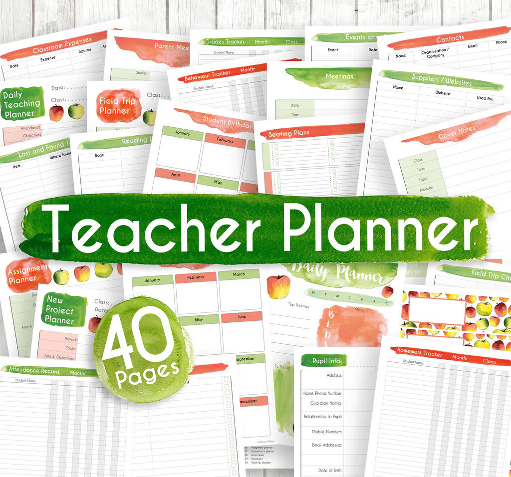 picture about Printable Teacher Planner named Printable Trainer Planner Mounted, 40 Webpages