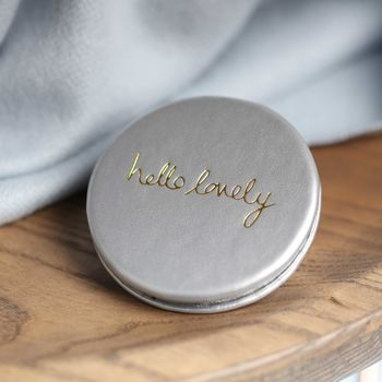 'Hello Lovely' Silver Compact Mirror