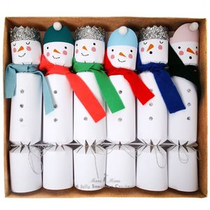 Box Of Six Snowman Crackers With Glitter Crowns