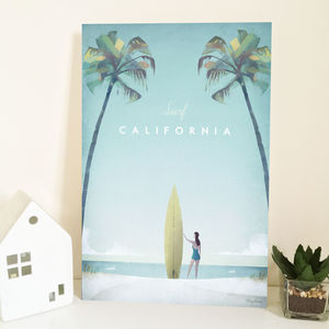 'Surf California' Travel Poster Print