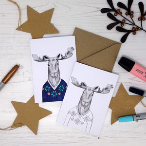 Colour Me In Jumper Moose Card