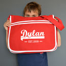 Personalised Red Retro Messenger Bag
