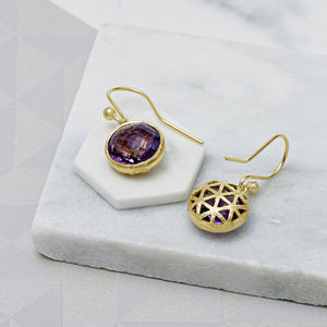 Amethyst Filigree And 18ct Gold Vermeil Drop Earrings - earrings