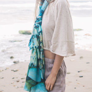 Turquoise Silk Ladies Scarf - womens