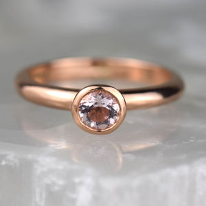 Solid Rose Gold Morganite Solitaire Ring - gold rings