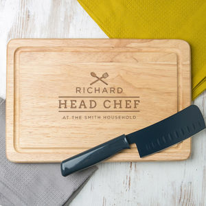 Personalised Family Chef Chopping Board For Him - gifts for him