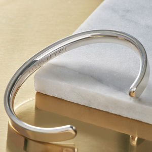 Men's Chunky Silver Torque Bangle Hand Made - gifts for fathers