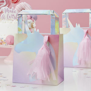 Iridescent Unicorn Tassel Mane Party Bag Five Pack - party bags and ideas