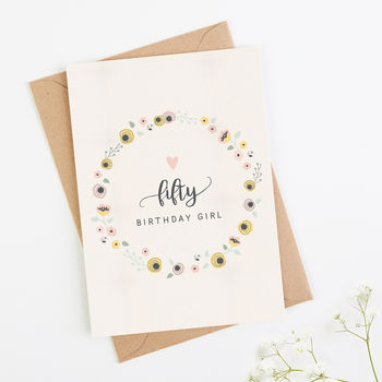 50th Birthday Card Blush Floral