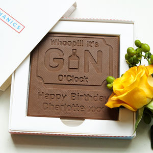 Personalised Happy Birthday 'Gin' Chocolate Card - novelty chocolates