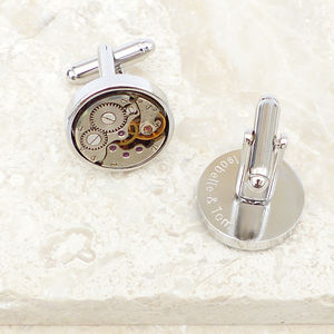 Personalised Vintage Round Watch Movement Cufflinks - men's jewellery