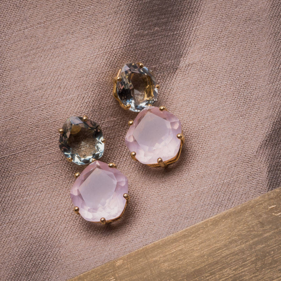 18ct Yellow Gold Green Amethyst And Rose Quartz Earrings