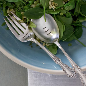 Personalised Vintage Set Of Salad Serving Spoons - tableware