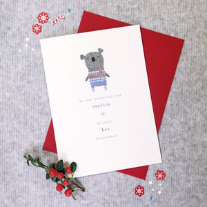 Babys First Christmas Or Pick Your Message Koala Card