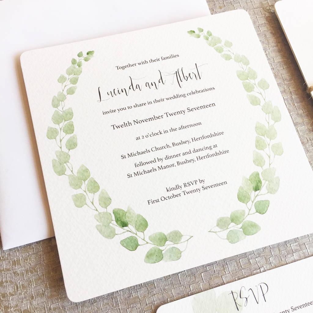 printable personalised eucalyptus wedding invitation by elinor rose ...