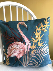 New Vegan Suede Hand Painted 'Poise' Flamingo Cushion