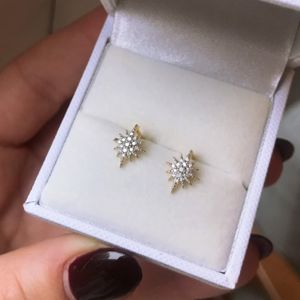 14k Gold Vermeil Diamond Snowflake Stud Earrings - earrings
