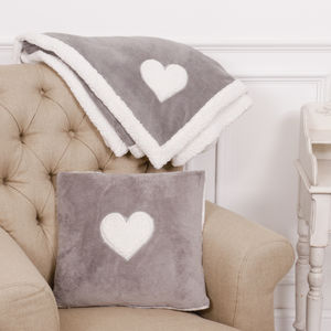Dove Grey Cosy Throw And Cushion Gift Set - blankets & throws