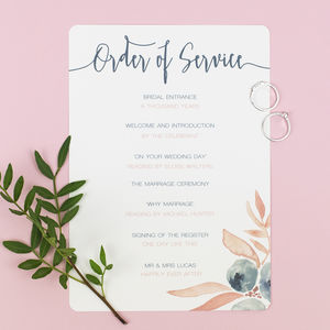 Berry Blush Wedding Order Of Service
