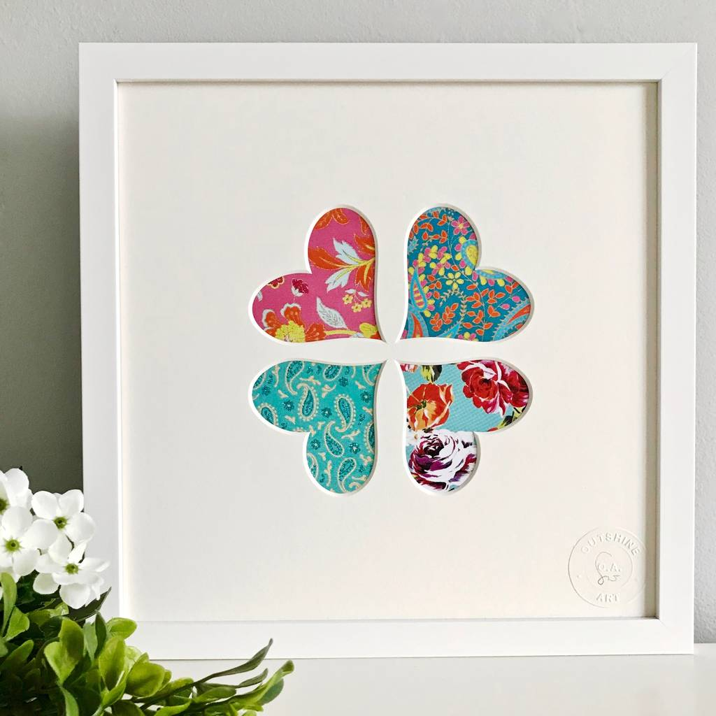 Framed Heart Flower Cut Out Picture