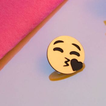 Golden Valentines Day Emoji Pin