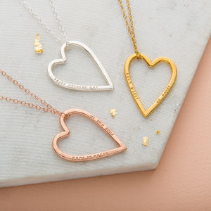 Personalised Medium Heart Necklace