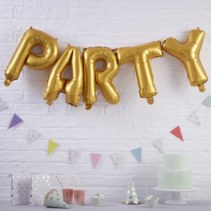 Gold Foiled Party Balloon Bunting Decoration