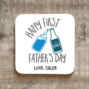Personalised First Father's Day Beer Coaster