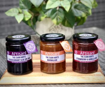 Personalised Three Giant Jars Of Jams And Marmalades