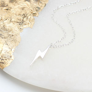 Personalised Sterling Silver Lightning Necklace