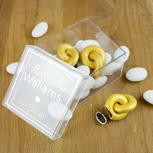 Personalised Set Of Two Gold Eternity Chocolate Rings - chocolates