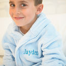 Personalised Soft Child's Dressing Gown In Blue
