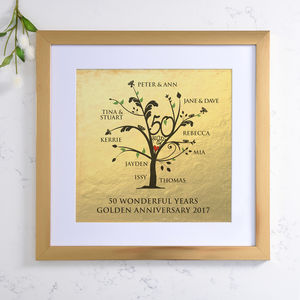 Personalised Metallic Golden Anniversary Family Tree - posters & prints