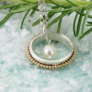 Personalised Gold And Silver Ring Pendant With Pearl