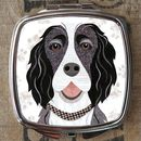 Black And White Springer Spaniel Dog Compact Mirror