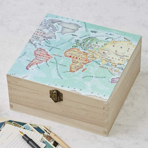Personalised Map Location Square Wedding Keepsake Box