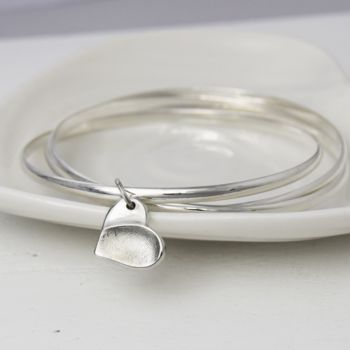 Silver Fingerprint Charm Russian Bangle