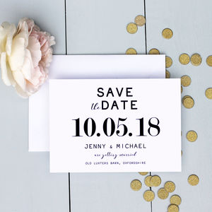 Modern Wedding Traditional Save The Date Card