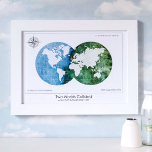 Personalised Destination 'Two Worlds Collided' Map - maps & locations