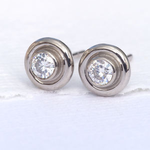 18ct Gold Moissanite Or Diamond Halo Stud Earrings - earrings